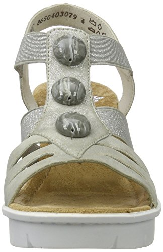 V6548 Rieker Grey Heels Grey WoMen Wedge 40 Sandals 55YrUPqn8