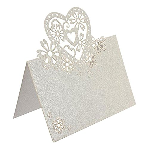 Decor Home Printable (WXLAA Wedding Party Table Name Place Cards Favor Decor Love Heart Laser Cute 50pcs White)