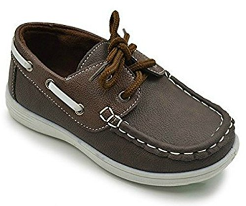 (coXist Boy's Suede PU Boat Shoe (Big Kid/Little Kid/Toddler) in Brown Size: 3 Little Kid M)