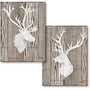Beautiful Contemporary Deer and Elk Silhouettes on a Faux Wood Style Background; Lodge Decor; Two 11x14in Prints. Brown/White