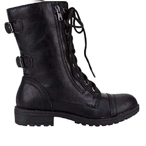 (Lucky Top Soda Pack72 Dome Girls Faux Leather Combat Boots,Black)