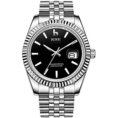 BUREI Men's Automatic Watch Elegant Model Classic Design Japanese-Automatic Movement Synthetic Sapphire Glass Stainless Steel Case and Band