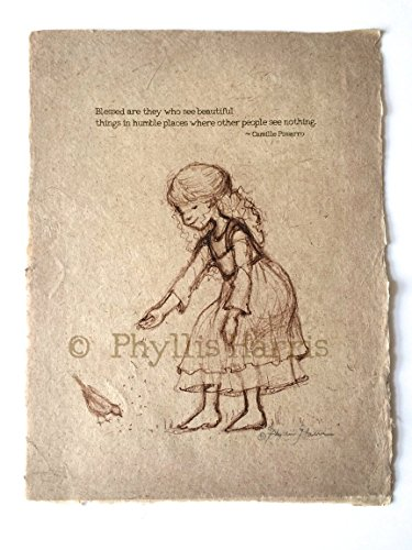 Vintage Sketch of Little Girl Feeding Birds – Fine art sketch on handmade paper