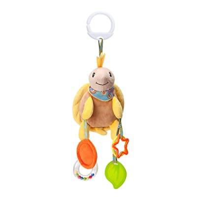 Baby Toys Hanging Rattle Crinkle Squeaky Educational Toy Infant Newborn Stroller Car Seat Crib Travel Activity Plush Tortoise Shape Wind Chime with Teether : Baby