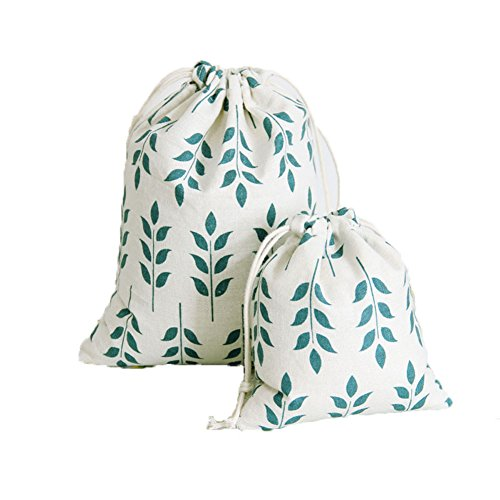 KARRESLY Set of 3 Cotton Gift Bags Christmas Drawstring Travel Storage Pouch Multi-Functional Bag Travel(Leaf) -