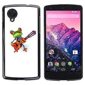 Be Good Phone Accessory // Dura Cáscara cubierta Protectora Caso Carcasa Funda de Protección para LG Google Nexus 5 D820 D821 // Music Frog Guitar Instrument
