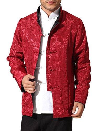 Bitablue Men's Auspicious Reversible Chinese Shirt (X-Large, Black/Red) by Bitablue