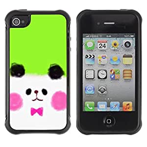 LASTONE PHONE CASE / Suave Silicona Caso Carcasa de Caucho Funda para Apple Iphone 4 / 4S / White Puppy Cute Drawing