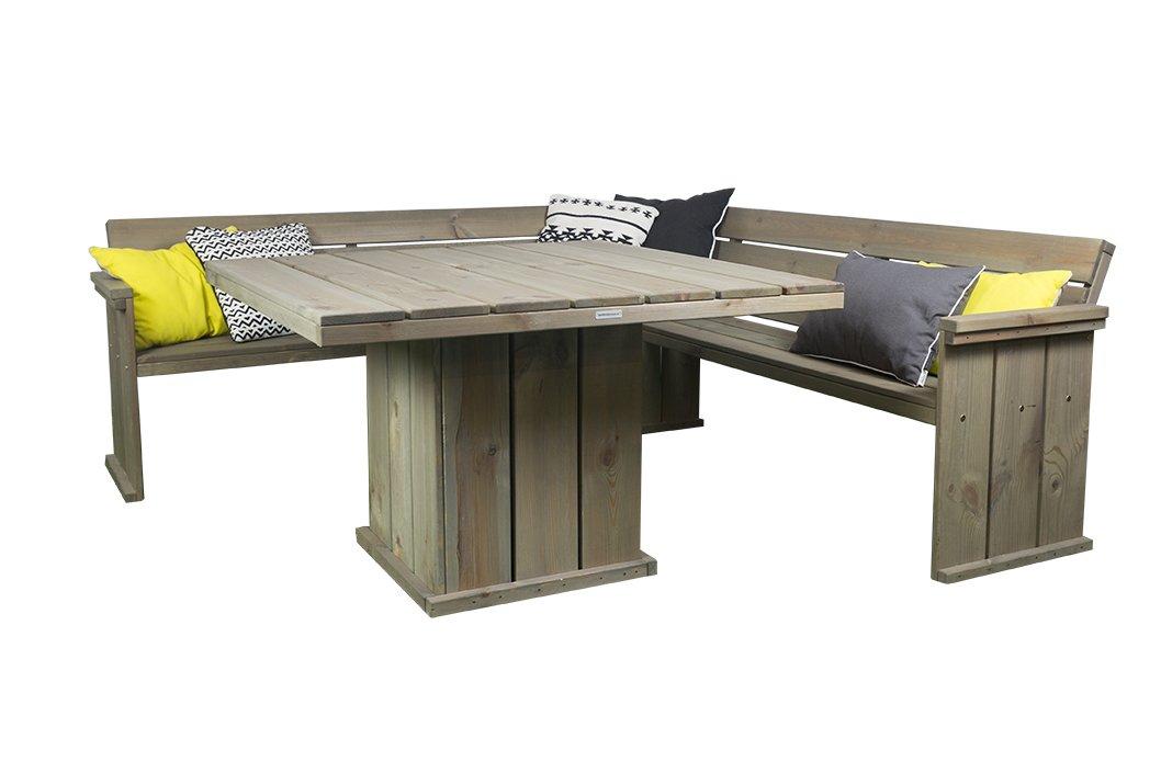 Gartenmöbel Set \'Danish Design\', Eckbank 210 cm + Gartentisch 118 x ...