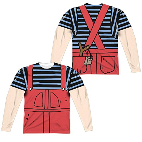 Dennis And Gnasher Costume (Long Sleeve: Dennis The Menace- Dennis Costume Tee (Front/Back) Longsleeve Shirt Size XL)