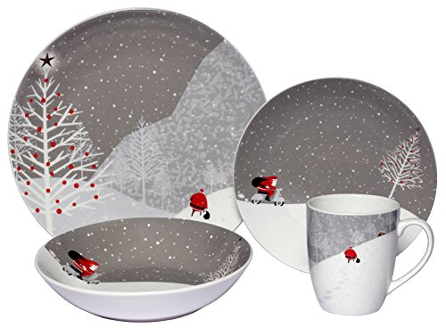 Melange Coupe 16-Piece Porcelain Dinnerware Set (Santa Comes Home) | Service for 4 | Microwave, Dishwasher & Oven Safe | Dinner Plate, Salad Plate, Soup Bowl & Mug (4 - Dishes Christmas