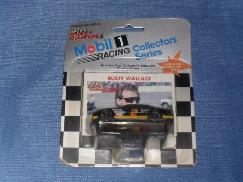 1991 NASCAR Racing Champions . . . Rusty Wallace #2 Mobil 1 Pontiac 1/64 Diecast . . . Includes Collector's Card and Display Stand . . . Racing Collectors Series (Rusty Wallace Nascar Card)