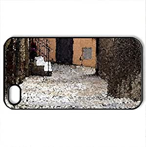 alley cat in Tuscany - Case Cover for iPhone 4 and 4s (Houses Series, Watercolor style, Black)