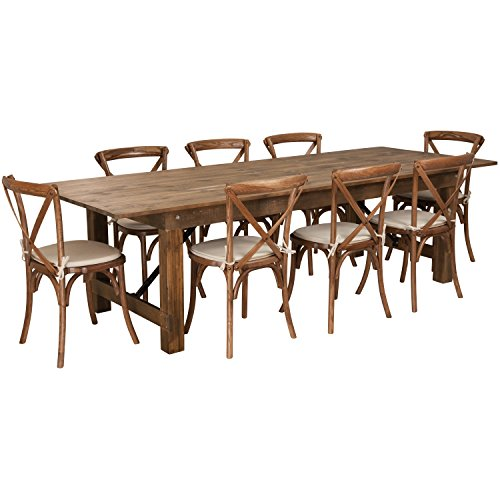 Flash Furniture HERCULES Series 9' x 40'' Antique Rustic Folding Farm Table Set with 8 Cross Back Chairs and Cushions from Flash Furniture