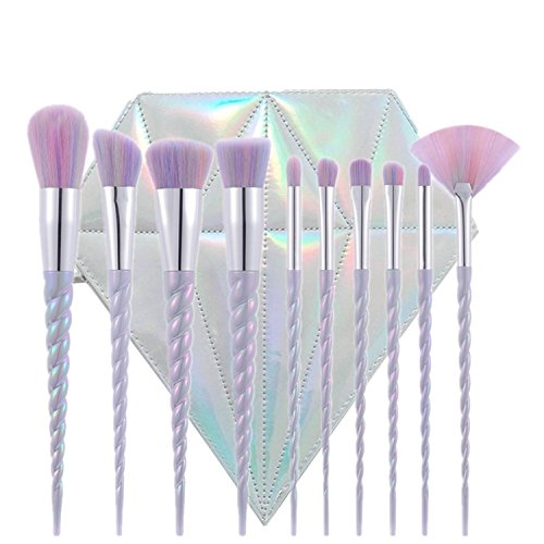 Green Beauty Mall Unicorn Thread Make Up Brushes Set Face Concealer Foundatio Eyeshadow (10 Pcs Colourful Hair with Diamond Brush Bag) (Threads Diamond)