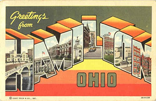 Greetings From Hamilton Hamilton, Ohio Original Vintage Postcard Wargo News Co.