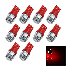 ZHANSHENZHEN Red Auto T10 W5W Interior (Map/Dome) Light 5 Emitters 5050 SMD LED DC 12V 464 555 558 A007-R (Pack of 10)