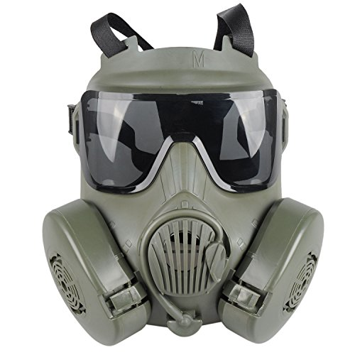 OFTEN Airsoft Protection Dual Fan Gas Mask for Cosplay Protection Zombie Soldiers Halloween Masquerade Resident Evil Antivirus -