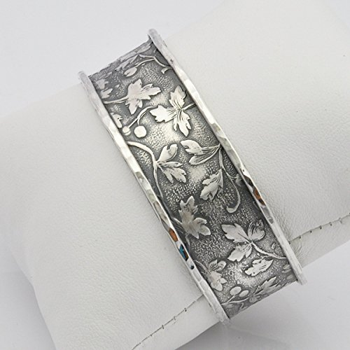 (Handmade sterling silver floral motif cuff bangle bracelet)