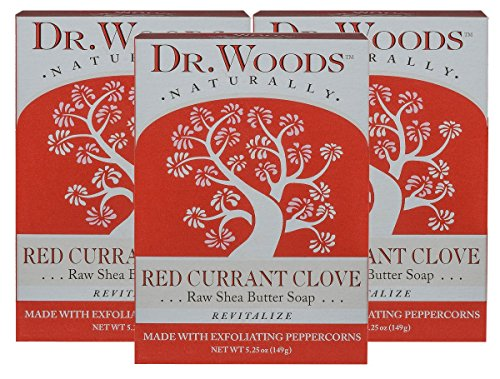 Dr. Woods Red Currant Clove Bar Soap with Peppercorn & Organic Shea Butter, 5.25 Ounce (Pack of 3)