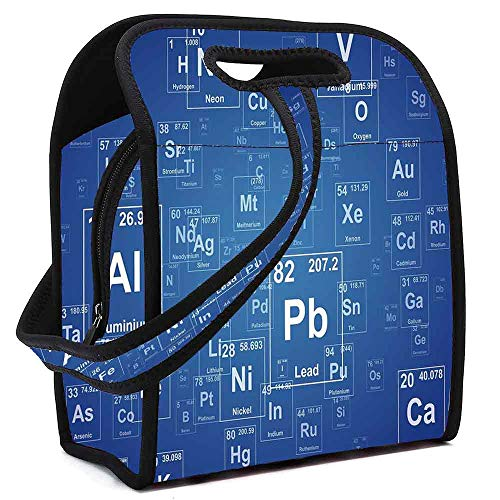 Science Waterproof Neoprene Lunch Bag,Chemistry Tv Show Inspired Image with Periodic Element Table Image Print Art for Commercial Takeaway Barbecue,Square(8.5''L x 5.5''W x 11''H)