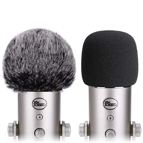 PEMOTech Pop filter for Blue Yeti, (2 Pack) Upgraded Foam Mic Cover Quality Sponge Material with Furry Windscreen, Microphone Windscreen for Your Recording, Broadcasting and Youtube Video