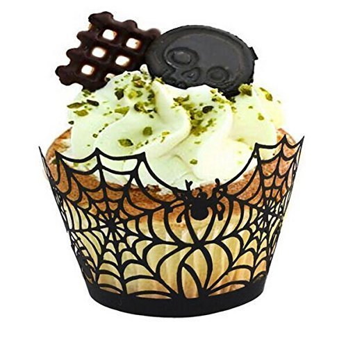 Vivian Black Spiderweb Laser Cut Cupcake Wrappers Wraps Liners Halloween Cake Decoration Pack of 24pcs ()