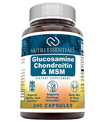 Nutri Essentials Glucosamine Chondroitin MSM 240 Capsules- Supports Healthy Joint, Cartilage and Connective Tissue - Promotes Joint Comfort & Flexibility (240 Capsules)