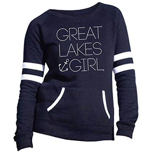 Livnfresh Great Lakes Girl Varsity Fleece Crew Sweatshirt Navy Xlarge (Lake Girl)