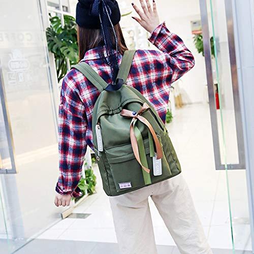Escolar Mochila Green Viaje Mochila Nylon de Impermeable con Rosa de Army Xuniu Lazo USw54qxU