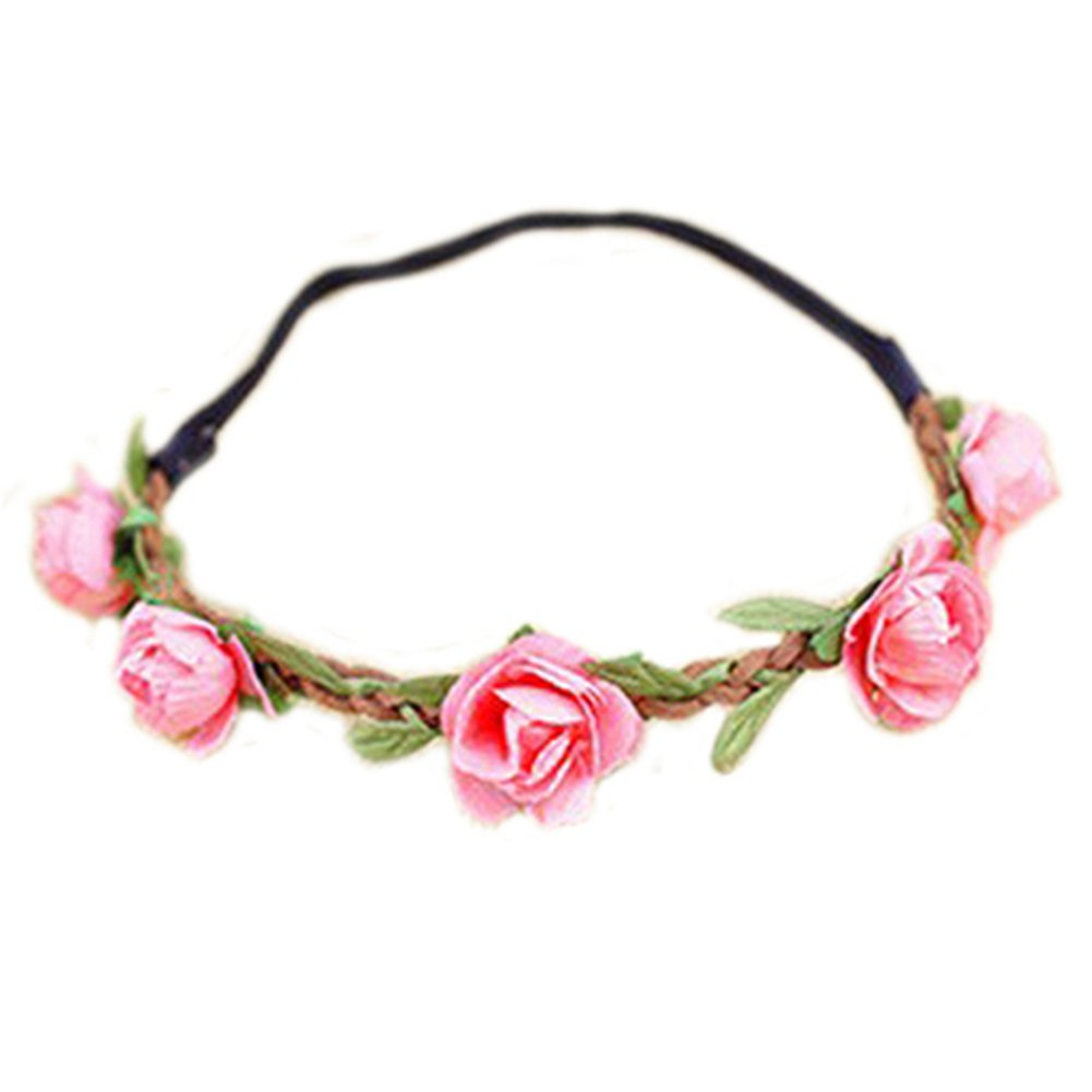 Hippie Love Flower Garland Crown Festival Wedding Hair Wreath BOHO Floral Headband (Pink)