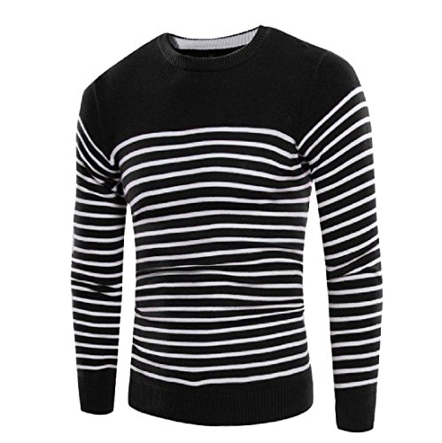 New Comfy Mens' Stripe Long Sleeve Knit Simple Spell Color Sweater Outwear supplier