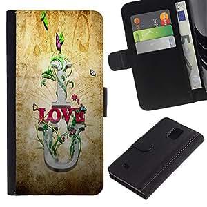 Be Good Phone Accessory // Caso del tirón Billetera de Cuero Titular de la tarjeta Carcasa Funda de Protección para Samsung Galaxy Note 4 SM-N910 // I Love U Quote Slogan Romance Relationship