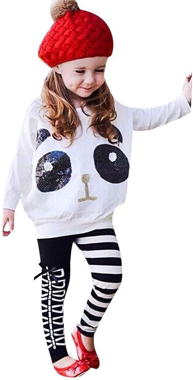 2PCS Kids Summer Baby Girls Panda Tops T-shirt+Striped Skirt Outfits Suit Sets