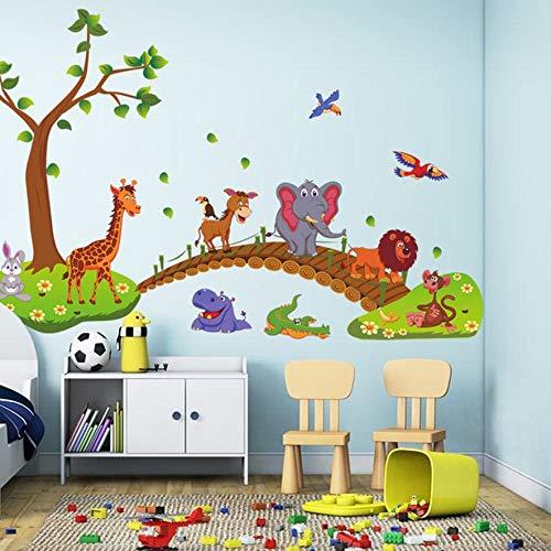 RoadRoma Carta da Parati per Bambini con Adesivi murali in PVC Kawaii Big Jungle Animals Bridge