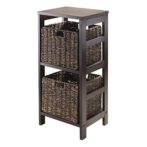 Granville Storage Shelf - Winsome Granville 3-Piece Storage Shelf with 2-Foldable Baskets, Espresso