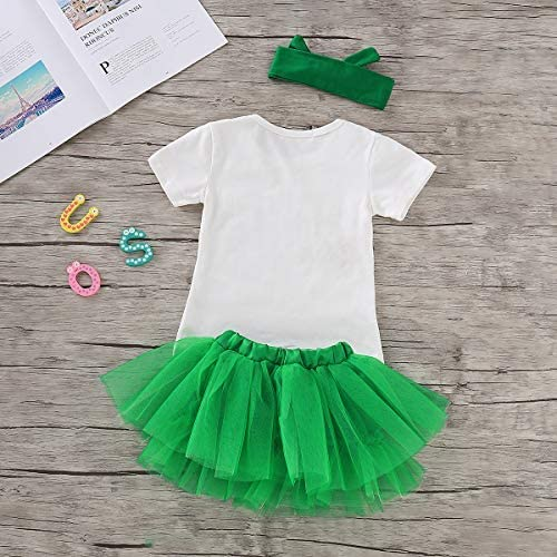 3 Pcs Toddler Kids Baby Girl Skirt Set St Green Tulle Tutu Skirt Dress Outfits Patricks Day Clothes Letters Print Top