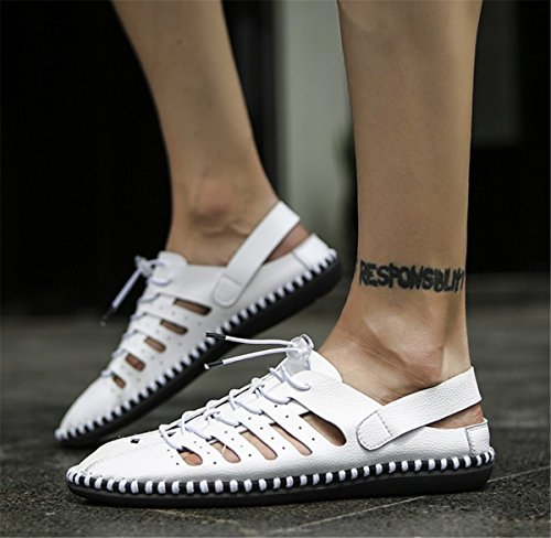 Shoelace BININBOX Toe Mens Buckle Slippers White Closed Adjustable Sandals 77T1nw6ZqC