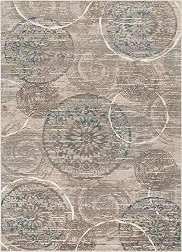 (Well Woven Zelda Floral Blue & Beige Pinwheel Area Rug 7x10 (7'2