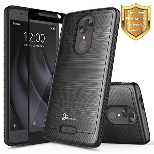 REVVL Plus Case (T-Mobile) w/[Full Cover Tempered Glass Screen Protector], NageBee [Brushed Carbon Fiber] Premium Heavy Duty Defender Shockproof Dual Layer Hybrid Case (Black)