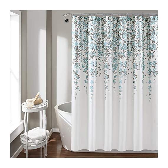 Lush Decor, Blue and Gray Weeping Flower Shower Curtain-Fabric Floral Vine Print Design, x 72 - Soft, 100% polyester fabric shower curtain with a delicate floral design. Calming, decorative design with cascading flowers create a charming shower curtain for any bathroom. Lush Décor Weeping Flower shower curtain features a delicate vine-like design for your traditional or minimalist style bathroom decor. - shower-curtains, bathroom-linens, bathroom - 516l HvCG7L. SS570  -