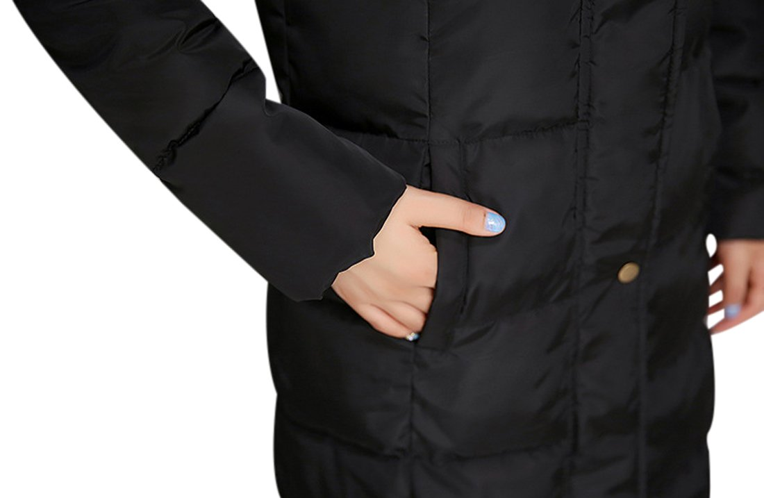 Tanming Women's Winter Cotton Padded Long Coat Outerwear With Fur Trim Hood (Large, Black) by Tanming (Image #6)
