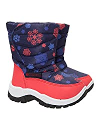 Mountain Warehouse Caribou Printed Junior Snow Boots - Snow Proof with Fleece Lining & High Traction Sole - Great to keep child's feet cose & snug on cold winter days