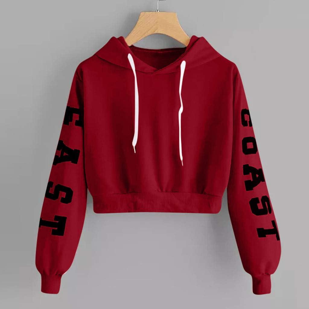 TiTCool Womens Letter Print Long Sleeve Crop Top Hoodies Sweatshirt