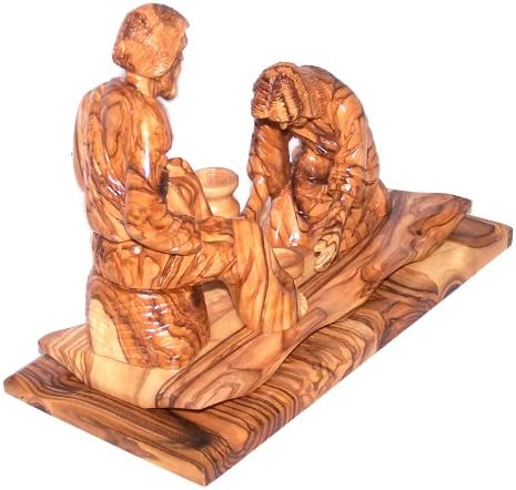 Washing of The Feet Statue Holy Thursday Washing – Olive Wood 23 cm or 9.1 inches