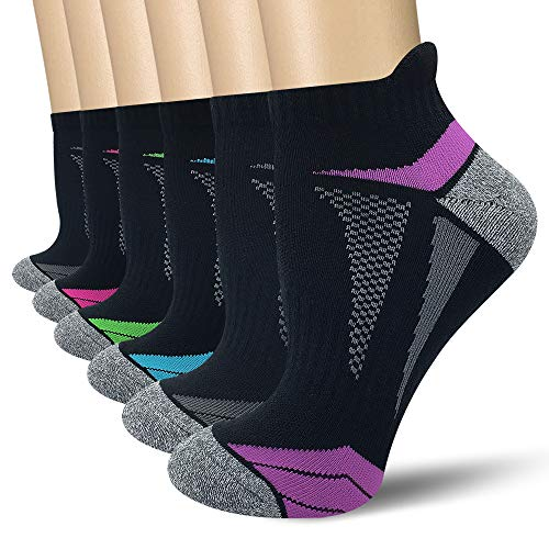 AKOENY Women's Performance Athletic Running Socks with Tab, Black, Size 9-11, 6 Pairs