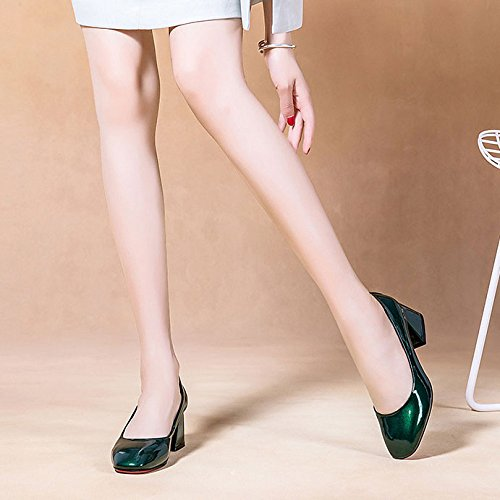 Peu Jane Femme DKFJKI Simples Mary Chaîne pour Sauvage Talons Strass Hauts Chaussures en Green Profonde Cuir Chaussures Bouche Mode Xw06pq