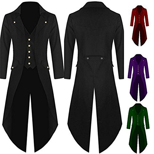 Antais Mens Gothic Tailcoat Steampunk Jacket Victorian Coat Costume Tuxedo Suit Halloween Party (L, black)