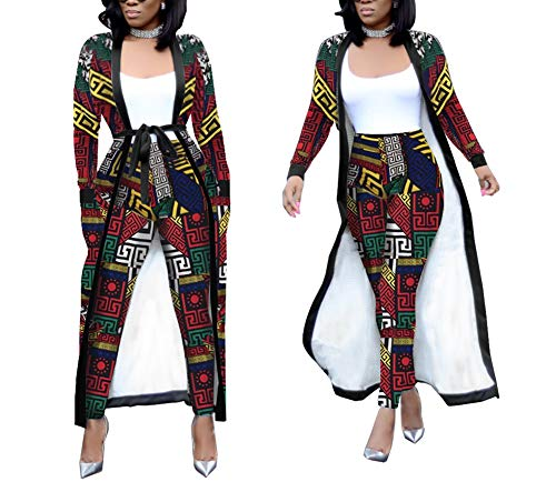 Womens 2 Piece Print Outfits Clubwear Long Sleeve Open Cardigan Pants Set Multicolor Size L