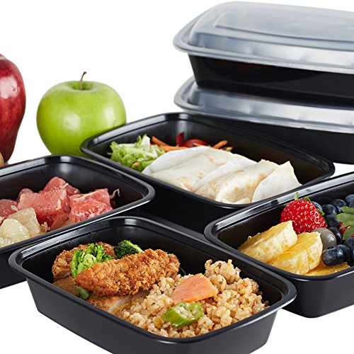 NutriBox 28 OZ Meal Prep Plastic Food Storage Containers 1 Compartment with lids- BPA Free Reusable Lunch Bento Box - Microwave, Dishwasher and Freezer Safe, Portion Control (Black, 20 Pack)